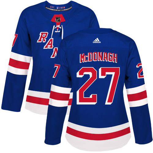 Adidas New York Rangers 27 Ryan McDonagh Royal Blue Home Authentic Women Stitched NHL Jersey