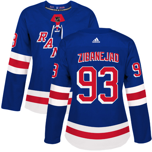 Adidas New York Rangers 93 Mika Zibanejad Royal Blue Home Authentic Women Stitched NHL Jersey