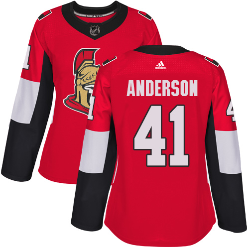 Adidas Ottawa Senators 41 Craig Anderson Red Home Authentic Women Stitched NHL Jersey
