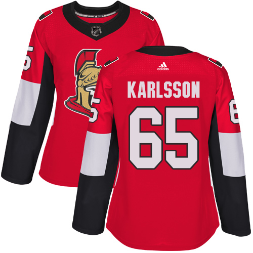 Adidas Ottawa Senators 65 Erik Karlsson Red Home Authentic Women Stitched NHL Jersey