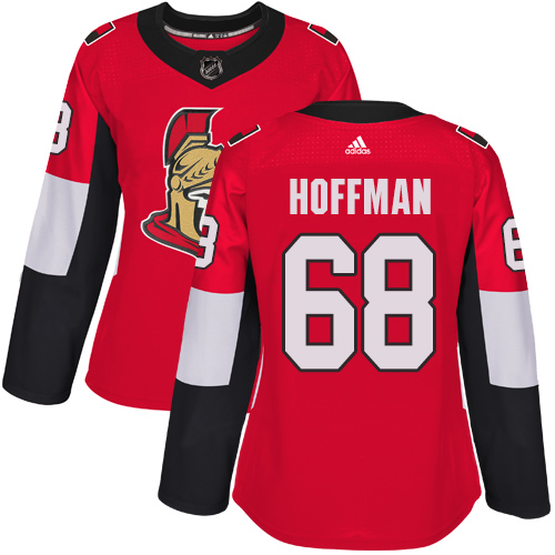 Adidas Ottawa Senators 68 Mike Hoffman Red Home Authentic Women Stitched NHL Jersey