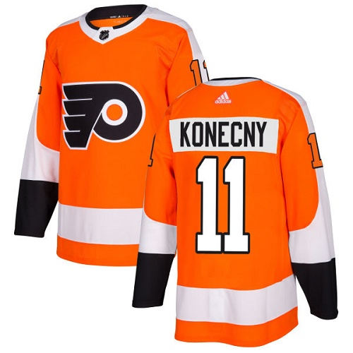 Adidas Philadelphia Flyers 11 Travis Konecny Orange Home Authentic Stitched Youth NHL Jersey