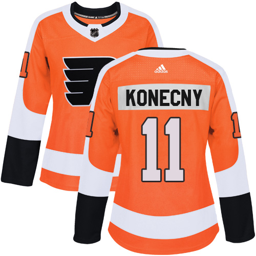 Adidas Philadelphia Flyers 11 Travis Konecny Orange Home Authentic Women Stitched NHL Jersey