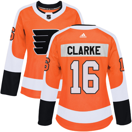 Adidas Philadelphia Flyers 16 Bobby Clarke Orange Home Authentic Women Stitched NHL Jersey