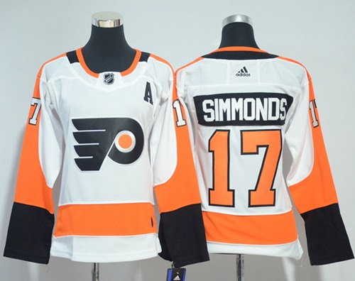 Adidas Philadelphia Flyers 17 Wayne Simmonds White Road Authentic Women Stitched NHL Jersey