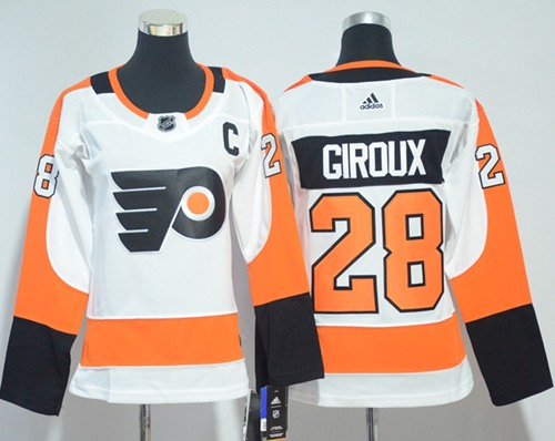 Adidas Philadelphia Flyers 28 Claude Giroux White Road Authentic Women Stitched NHL Jersey