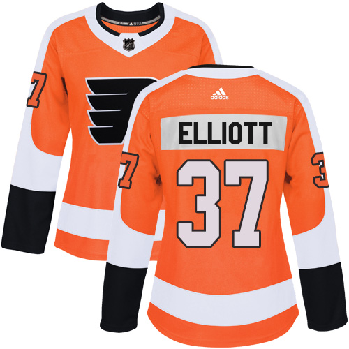 Adidas Philadelphia Flyers 37 Brian Elliott Orange Home Authentic Women Stitched NHL Jersey