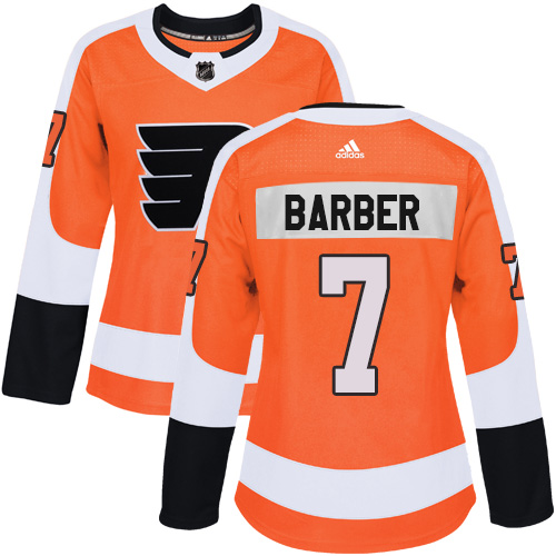 Adidas Philadelphia Flyers 7 Bill Barber Orange Home Authentic Women Stitched NHL Jersey