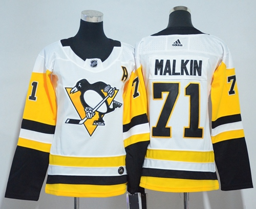 Adidas Pittsburgh Penguins 71 Evgeni Malkin White Road Authentic Women Stitched NHL Jersey