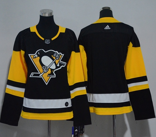Adidas Pittsburgh Penguins Blank Black Home Authentic Women Stitched NHL Jersey