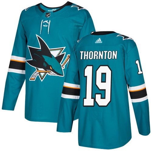 Adidas San Jose Sharks 19 Joe Thornton Teal Home Authentic Stitched Youth NHL Jersey