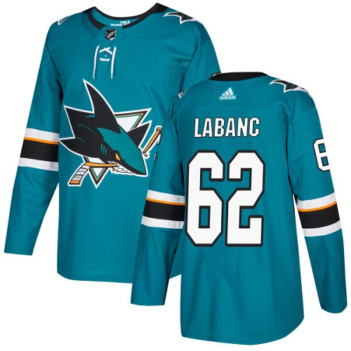 Adidas San Jose Sharks 62 Kevin Labanc Teal Home Authentic Stitched Youth NHL Jersey