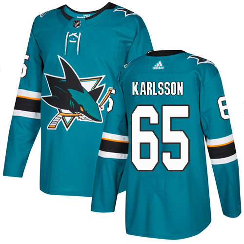 Adidas San Jose Sharks 65 Erik Karlsson Teal Home Authentic Stitched Youth NHL Jersey