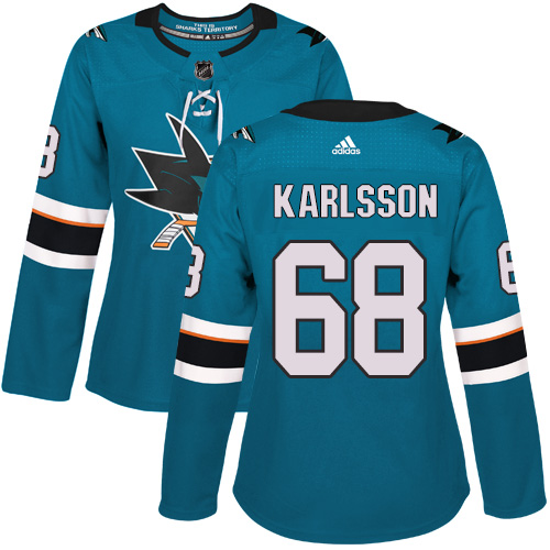 Adidas San Jose Sharks 68 Melker Karlsson Teal Home Authentic Women Stitched NHL Jersey