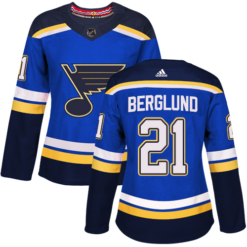 Adidas St.Louis Blues 21 Patrik Berglund Blue Home Authentic Women Stitched NHL Jersey