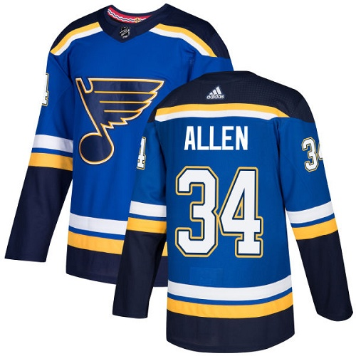 Adidas St.Louis Blues 34 Jake Allen Blue Home Authentic Stitched Youth NHL Jersey