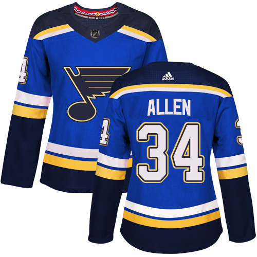 Adidas St.Louis Blues 34 Jake Allen Blue Home Authentic Women Stitched NHL Jersey