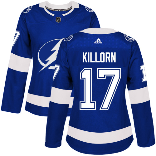 Adidas Tampa Bay Lightning 17 Alex Killorn Blue Home Authentic Women Stitched NHL Jersey