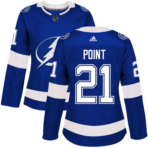 Adidas Tampa Bay Lightning 21 Brayden Point Blue Home Authentic Women Stitched NHL Jersey