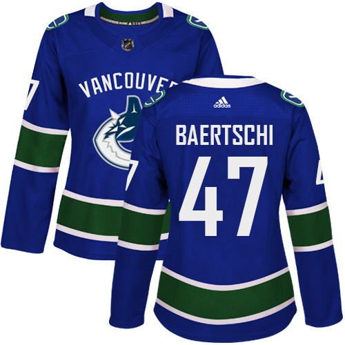 Adidas Vancouve Canucks 47 Sven Baertschi Blue Home Authentic Women Stitched NHL Jersey
