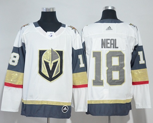 Adidas Vegas Golden Knights 18 James Neal White Road Authentic Women Stitched NHL Jersey