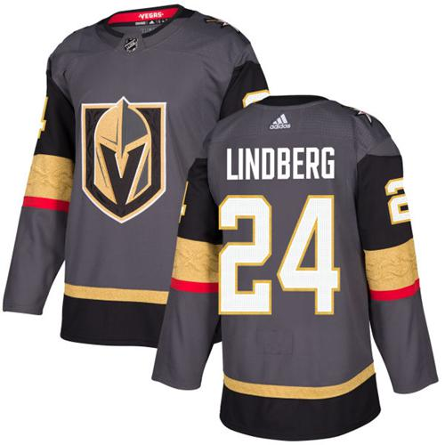 Adidas Vegas Golden Knights 24 Oscar Lindberg Grey Home Authentic Stitched Youth NHL Jersey