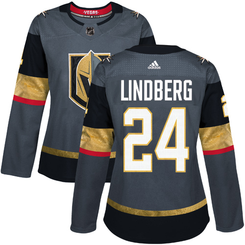 Adidas Vegas Golden Knights 24 Oscar Lindberg Grey Home Authentic Women Stitched NHL Jersey