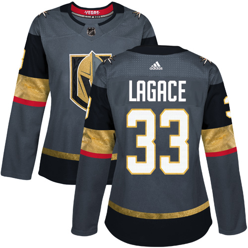 Adidas Vegas Golden Knights 33 Maxime Lagace Grey Home Authentic Women Stitched NHL Jersey
