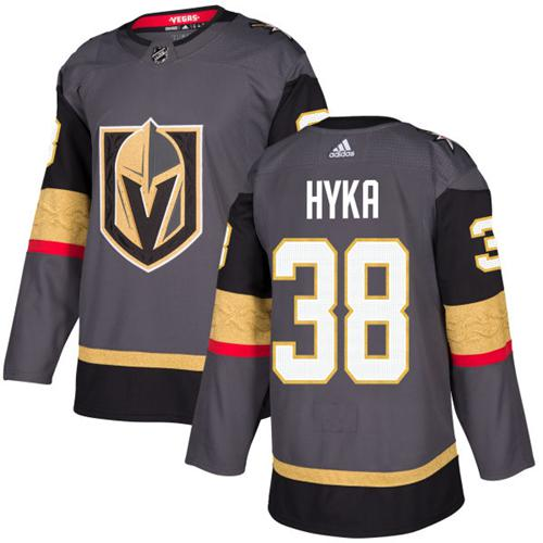 Adidas Vegas Golden Knights 38 Tomas Hyka Grey Home Authentic Stitched Youth NHL Jersey