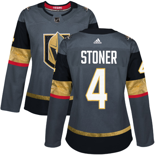 Adidas Vegas Golden Knights 4 Clayton Stoner Grey Home Authentic Women Stitched NHL Jersey