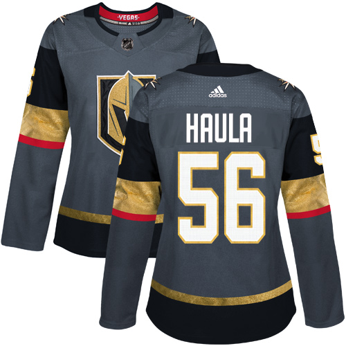 Adidas Vegas Golden Knights 56 Erik Haula Grey Home Authentic Women Stitched NHL Jersey