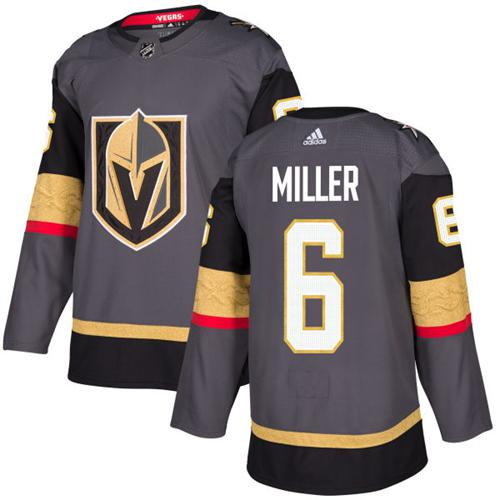 Adidas Vegas Golden Knights 6 Colin Miller Grey Home Authentic Stitched Youth NHL Jersey