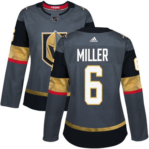 Adidas Vegas Golden Knights 6 Colin Miller Grey Home Authentic Women Stitched NHL Jersey