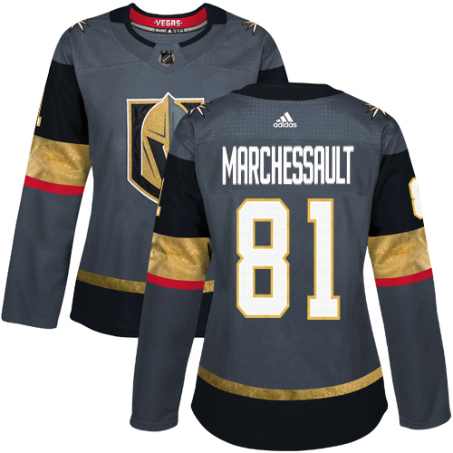 Adidas Vegas Golden Knights 81 Jonathan Marchessault Grey Home Authentic Women Stitched NHL Jersey