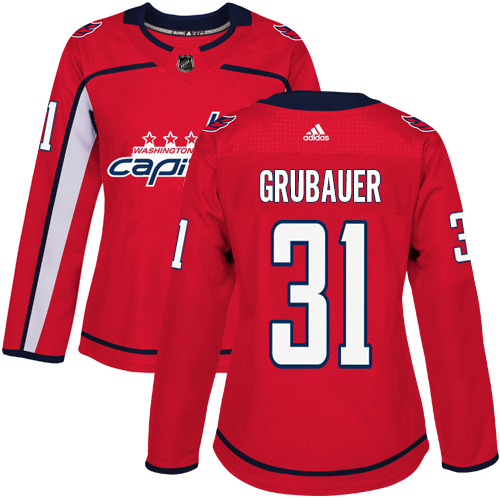 Adidas Washington Capitals 31 Philipp Grubauer Red Home Authentic Women Stitched NHL Jersey