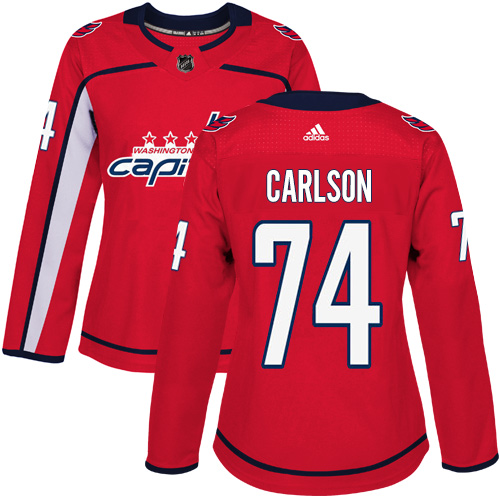 Adidas Washington Capitals 74 John Carlson Red Home Authentic Women Stitched NHL Jersey