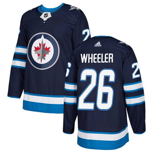 Adidas Winnipeg Jets 26 Blake Wheeler Navy Blue Home Authentic Stitched Youth NHL Jersey