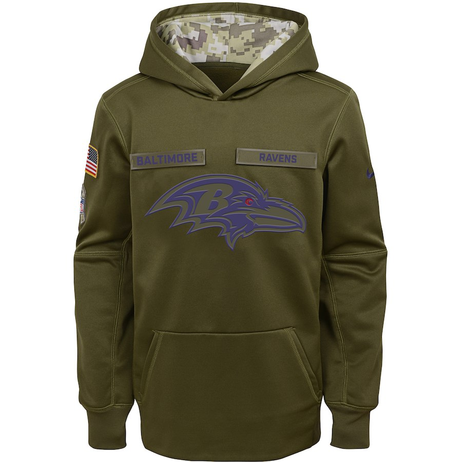 Baltimore Ravens Nike Youth Salute to Service Pullover Performance Hoodie Green