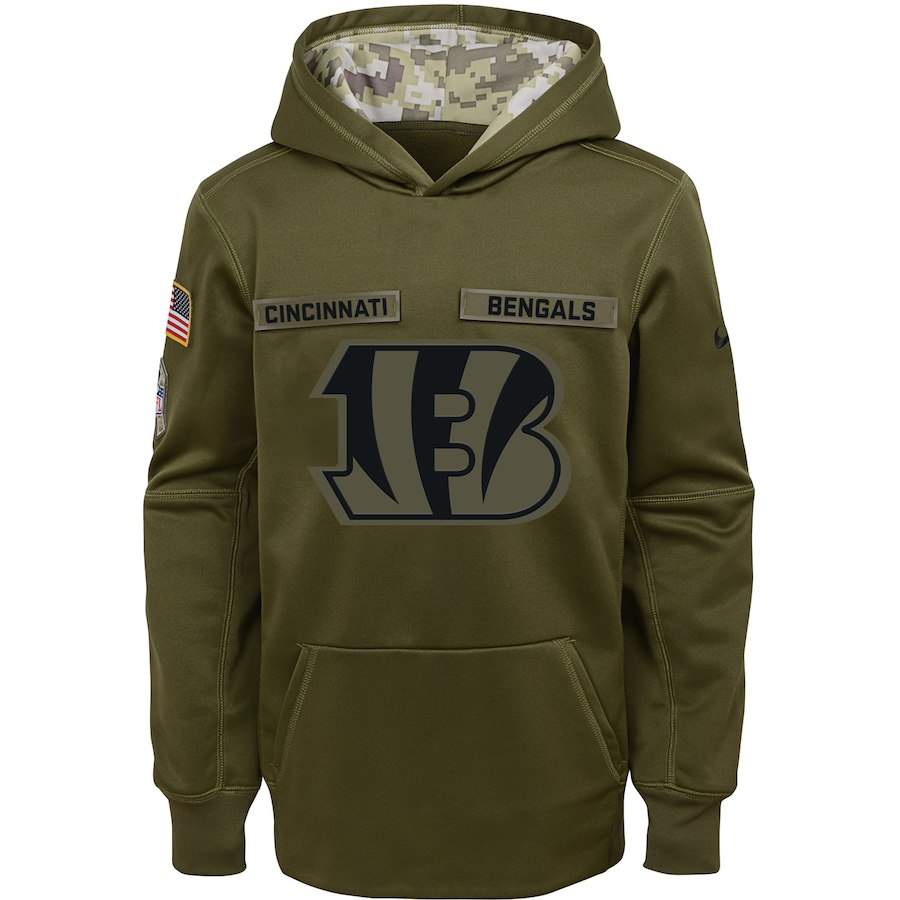 Cincinnati Bengals Nike Youth Salute to Service Pullover Performance Hoodie Green