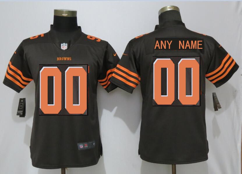 Custom Women Cleveland Browns brown Nike Vapor Untouchable Elite Playe NFL Jerseys