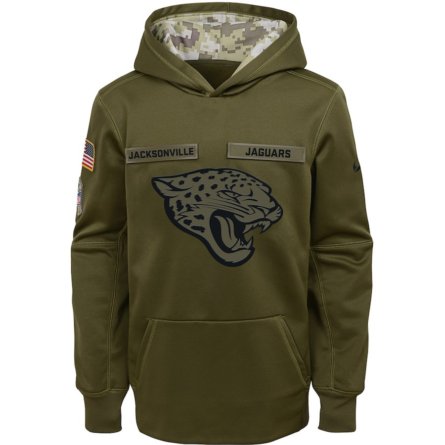 Jacksonville Jaguars Nike Youth Salute to Service Pullover Performance Hoodie Green