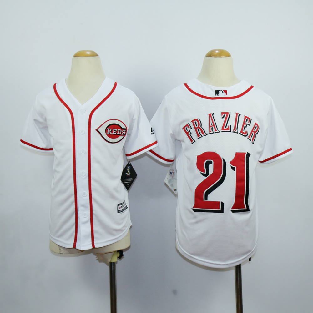 MLB Cincinnati Reds Youth 21 Frazier white jerseys