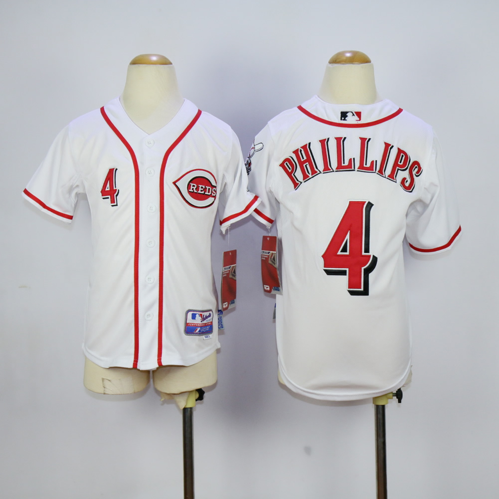 MLB Cincinnati Reds Youth 4 Phillips white jerseys