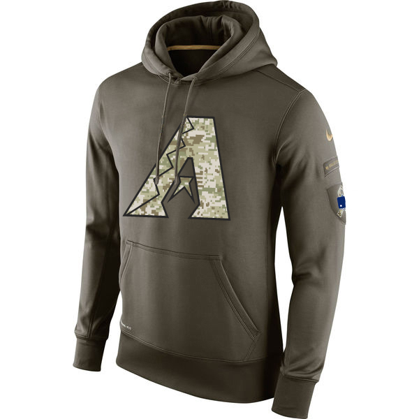MLB Men Arizona Diamondback Nike Olive Salute To Service KO Performance Hoodie Green