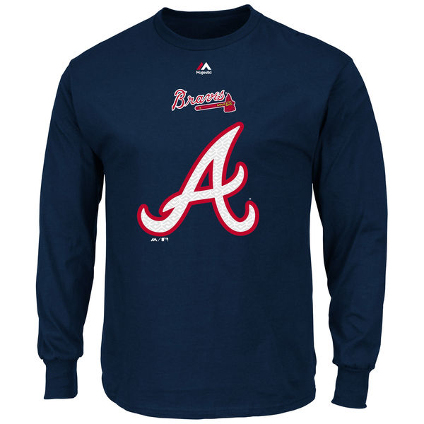 MLB Men Atlanta Braves Majestic Critical Victory Long Sleeve TShirt Navy