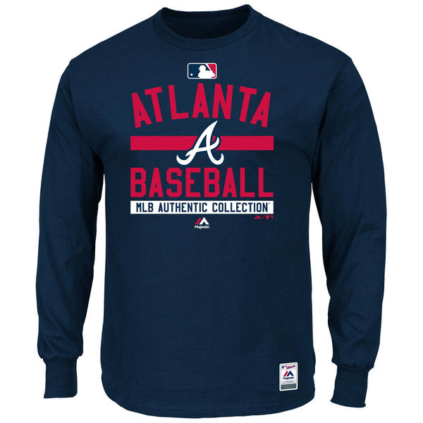 MLB Men Atlanta Braves Majestic Men Authentic Collection Team Property Long Sleeve TShirt Navy
