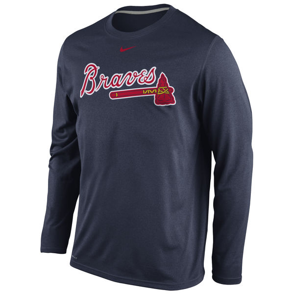 MLB Men Atlanta Braves Nike Legend Wordmark Long Sleeve Performance TShirt Navy