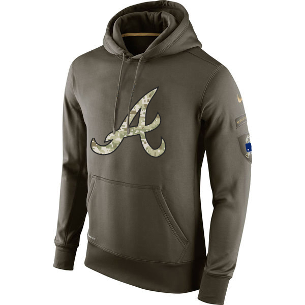 MLB Men Atlanta Braves Nike Olive Salute To Service KO Performance Hoodie Green
