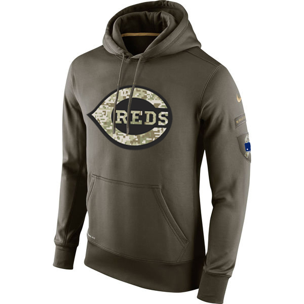 MLB Men Cincinnati Reds Nike Olive Salute To Service KO Performance Hoodie Green