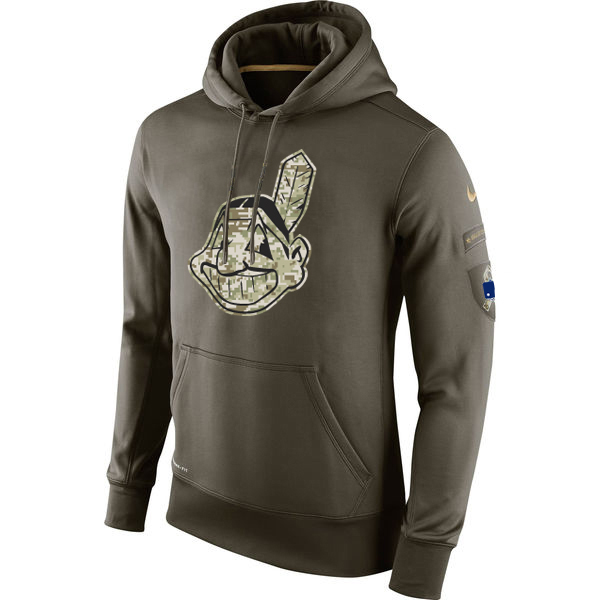 MLB Men Cleveland Indians Nike Olive Salute To Service KO Performance Hoodie Green